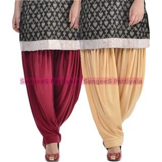 SangeeS Superior Quality Viscose Lycra Pattiyala 2 Pack Combo With   Mulberry - Biege