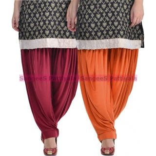 SangeeS Superior Quality Viscose Lycra Pattiyala 2 Pack Combo With   Mulberry - Trendy Brown