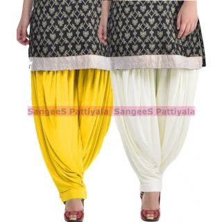SangeeS Superior Quality Viscose Lycra Pattiyala 2 Pack Combo With   Yellow - Cream