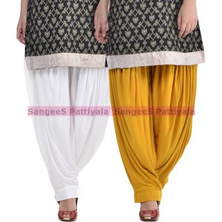 SangeeS Superior Quality Viscose Lycra Pattiyala 2 Pack Combo With   White - Mustard