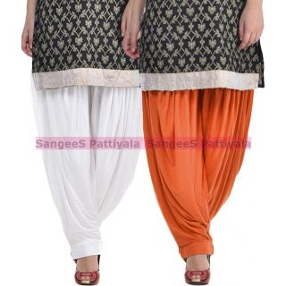 SangeeS Superior Quality Viscose Lycra Pattiyala 2 Pack Combo With   White - Trendy Brown