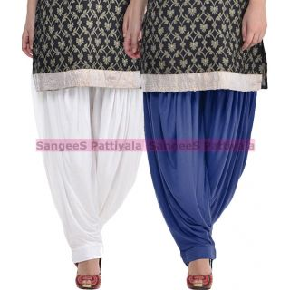 SangeeS Superior Quality Viscose Lycra Pattiyala 2 Pack Combo With   White - Navy