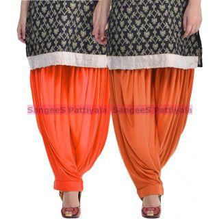 SangeeS Superior Quality Viscose Lycra Pattiyala 2 Pack Combo With   Orange - Trendy Brown