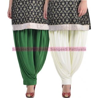 SangeeS Superior Quality Viscose Lycra Pattiyala 2 Pack Combo With   Deep Green - Cream