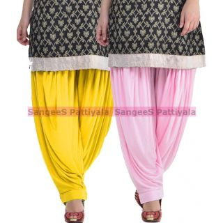 SangeeS Superior Quality Viscose Lycra Pattiyala 2 Pack Combo With   Yellow - Light Pink
