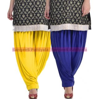 SangeeS Superior Quality Viscose Lycra Pattiyala 2 Pack Combo With   Yellow - Royal Blue