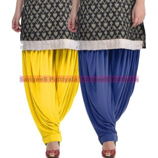 SangeeS Superior Quality Viscose Lycra Pattiyala 2 Pack Combo With   Yellow - Navy