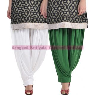 SangeeS Superior Quality Viscose Lycra Pattiyala 2 Pack Combo With   White - Deep Green