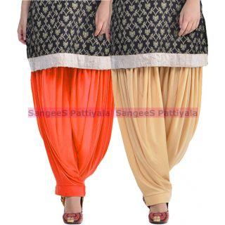 SangeeS Superior Quality Viscose Lycra Pattiyala 2 Pack Combo With   Orange - Biege