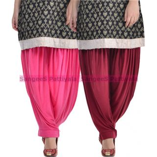 SangeeS Superior Quality Viscose Lycra Pattiyala 2 Pack Combo With   Hot Pink - Mulberry