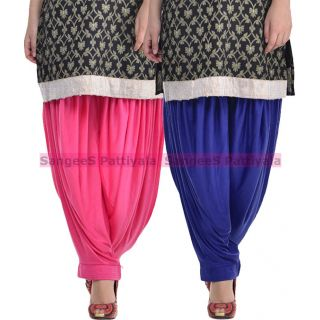 SangeeS Superior Quality Viscose Lycra Pattiyala 2 Pack Combo With   Hot Pink - Royal Blue