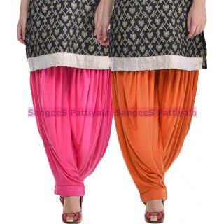 SangeeS Superior Quality Viscose Lycra Pattiyala 2 Pack Combo With   Hot Pink - Trendy Brown