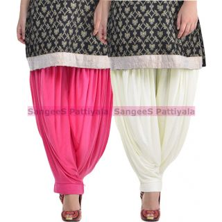 SangeeS Superior Quality Viscose Lycra Pattiyala 2 Pack Combo With   Hot Pink - Cream