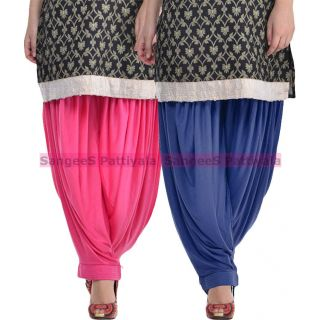 SangeeS Superior Quality Viscose Lycra Pattiyala 2 Pack Combo With   Hot Pink - Navy