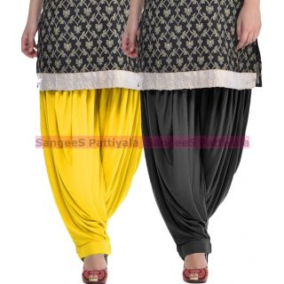 SangeeS Superior Quality Viscose Lycra Pattiyala 2 Pack Combo With   Yellow - black