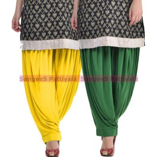 SangeeS Superior Quality Viscose Lycra Pattiyala 2 Pack Combo With   Yellow - Deep Green