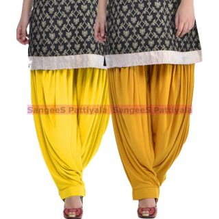 SangeeS Superior Quality Viscose Lycra Pattiyala 2 Pack Combo With   Yellow - Mustard