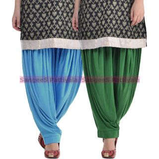 SangeeS Superior Quality Viscose Lycra Pattiyala 2 Pack Combo With   Sky Blue - Deep Green