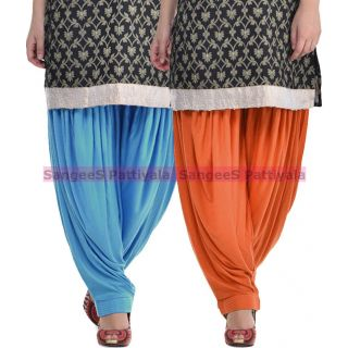 SangeeS Superior Quality Viscose Lycra Pattiyala 2 Pack Combo With   Sky Blue - Trendy Brown