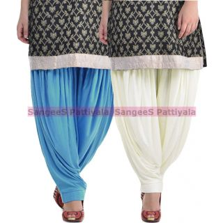 SangeeS Superior Quality Viscose Lycra Pattiyala 2 Pack Combo With   Sky Blue - Cream