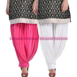SangeeS Superior Quality Viscose Lycra Pattiyala 2 Pack Combo With   Hot Pink - White