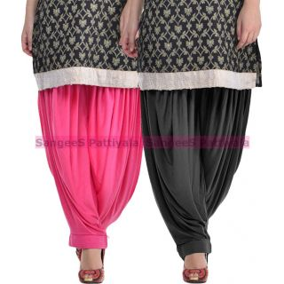 SangeeS Superior Quality Viscose Lycra Pattiyala 2 Pack Combo With   Hot Pink - black