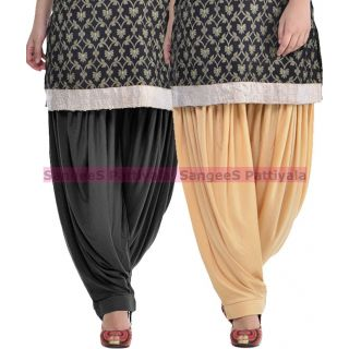 SangeeS Superior Quality Viscose Lycra Pattiyala 2 Pack Combo With   Black - Biege