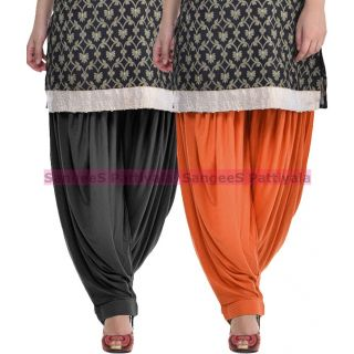 SangeeS Superior Quality Viscose Lycra Pattiyala 2 Pack Combo With   Black - Trendy Brown