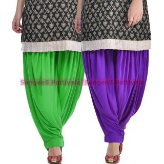 SangeeS Superior Quality Viscose Lycra Pattiyala 2 Pack Combo With   Green - Violet