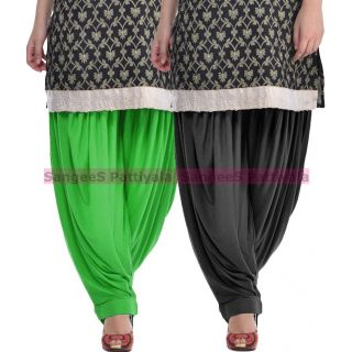SangeeS Superior Quality Viscose Lycra Pattiyala 2 Pack Combo With   Green - black