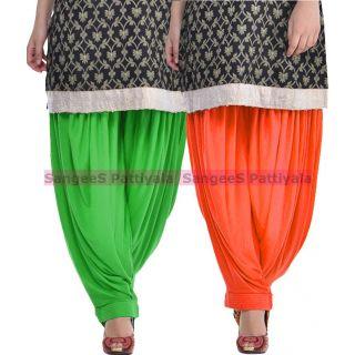 SangeeS Superior Quality Viscose Lycra Pattiyala 2 Pack Combo With   Green - Orange