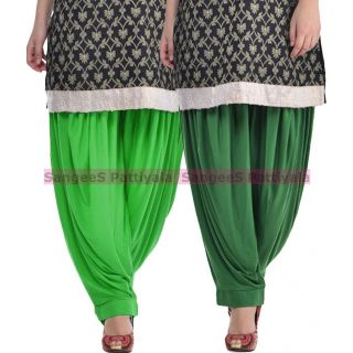 SangeeS Superior Quality Viscose Lycra Pattiyala 2 Pack Combo With   Green - Deep Green