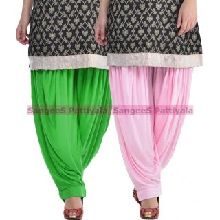 SangeeS Superior Quality Viscose Lycra Pattiyala 2 Pack Combo With   Green - Light Pink