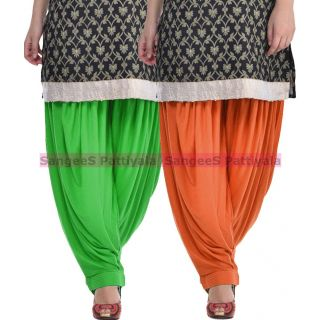 SangeeS Superior Quality Viscose Lycra Pattiyala 2 Pack Combo With   Green - Trendy Brown