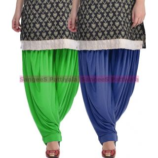 SangeeS Superior Quality Viscose Lycra Pattiyala 2 Pack Combo With   Green - Navy