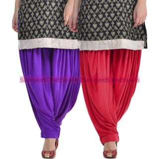 SangeeS Superior Quality Viscose Lycra Pattiyala 2 Pack Combo With   Violet - Meroon