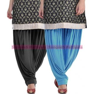 SangeeS Superior Quality Viscose Lycra Pattiyala 2 Pack Combo With   Black - Sky Blue