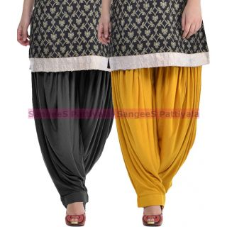 SangeeS Superior Quality Viscose Lycra Pattiyala 2 Pack Combo With   Black - Mustard