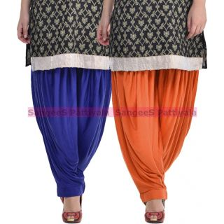 SangeeS Superior Quality Viscose Lycra Pattiyala 2 Pack Combo With   Royal Blue - Trendy Brown
