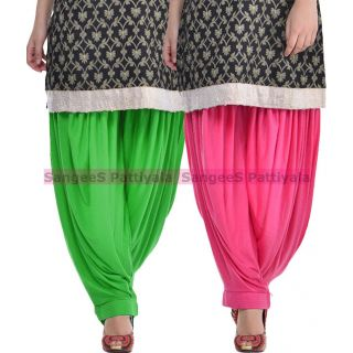 SangeeS Superior Quality Viscose Lycra Pattiyala 2 Pack Combo With   Green - Hot Pink