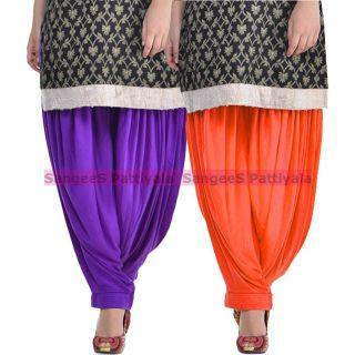SangeeS Superior Quality Viscose Lycra Pattiyala 2 Pack Combo With   Violet - Orange