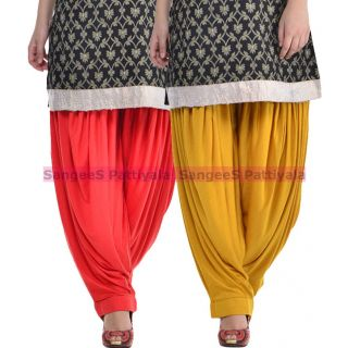 SangeeS Superior Quality Viscose Lycra Pattiyala 2 Pack Combo With   Red - Mustard