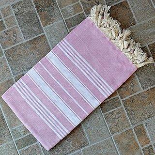 Sugar Pink Turkish Towel Peshtemal - 100% Natural Dyed Cotton - for Beach Spa Bath Swimming Pool Hammam Sauna Yoga Pilat