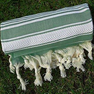 Olive Green Turkish Towel Peshtemal - 100% Natural Dyed Cotton - for Beach Spa Bath Swimming Pool Hammam Sauna Yoga Pila