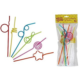 Time for Treats Curly Drinking Straws, 6 Pack