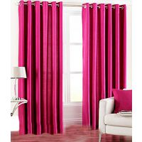 Handloomhut Solid Dark Pink Eyelet Door Curtain