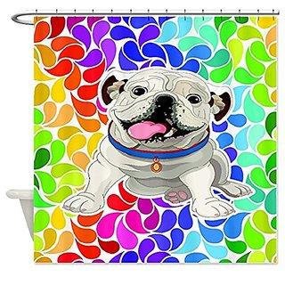 English Bulldog Rainbow Day Cloth Shower Curtain, Kids Bath Room, Bright Bathroom Decor, Very High Quality Silky Feel &