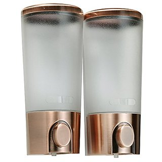 ANGELBUBBLES 2 x 400ml Wall Mount ABS Vacuum Pump Soap Dispenser, Lotion Dispenser, Shampoo Box, Gel Liquid Bottle (Bron