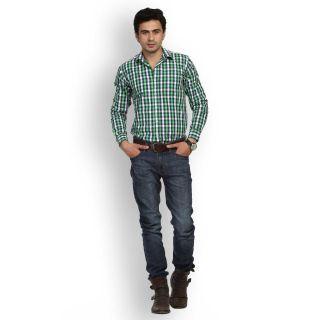 Fast N Fashion Dashing Cotton Green Checks Shirt