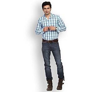 Fast N Fashion Genteel Cotton Blue Checks Shirt